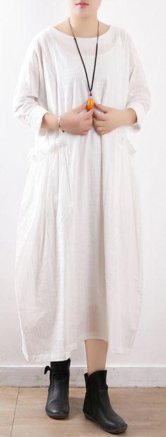 bb2d1ec809b Women white cotton linen quilting clothes boutique Outfits o neck baggy  long spring Dresses