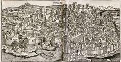 This print depicts Florence in the year 1493.  The view is from the west.