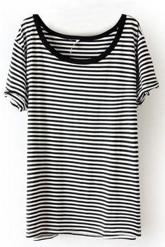Black White Striped Short Sleeve Slim T-Shirt