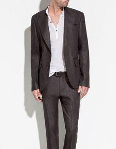 GREY LINEN BLAZER - Suits - Man - ZARA United States