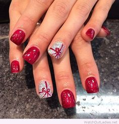 Red and silver glitter Christmas nails