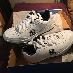 NEW YORK YANKEES REEBOK Sneakers BNIB! Authentic MLB Clubhouse Exclusive Reebok sneakers - brand new in box!  After I bought these, I decided that I didn't want to wear them!  They have the Yankee's logo beautifully embroidered on the outer side of each shoe. They are men's size 7.5 (women's 9-9.5) US, 6.5 UK, 40 EUR. These have been out of production for several years and very HTF!! Reebok Shoes Athletic Shoes