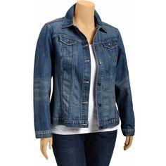 Old Navy Womens Plus Denim Jackets - Medium wash ($40) ❤ liked on Polyvore