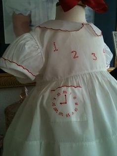 """Vintage hand-embroidered """"Tick Tock"""" dress by Alfred Leon, 1940's."""