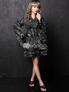 Punk Silver Cotton Blend Lolita Kimono - Milanoo.com