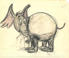 """""""A person's a person, no matter how small.""""  Original character model drawing by Chuck Jones of Horton the Elephant for his 1970, """"Dr. Seuss' Horton Hears a Who!"""""""