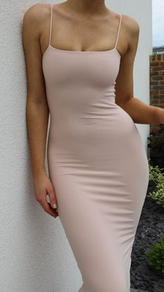 AYM clothing bodycon classic maxi dress with spaghetti straps and bandeau shape body. Hand made in England using our signature double layered fabric for a flattering and supportive fit. Perfect for special occasions and evening wear. Tight Dresses, Sexy Dresses, Dress Outfits, Casual Dresses, Cute Outfits, K Fashion, Fashion Outfits, Nude Dress, Streetwear Fashion