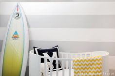 Marley's Beach Inspired Nursery with pale grey stripes and pops of yellow - Project Nursery #beachnursery