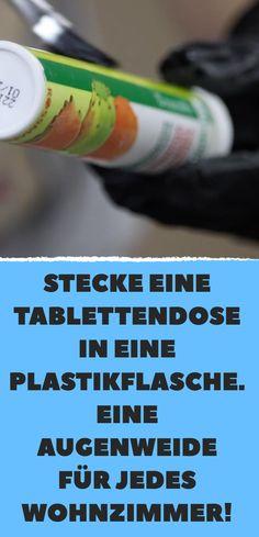 Aus Tablettenröhrchen und Milchflasche wird Betonvase.