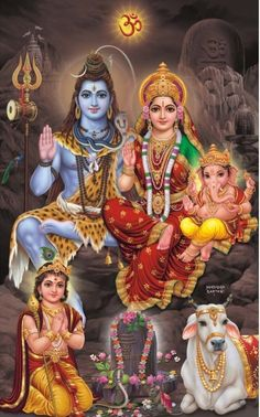 The Divine Family of Shiva and Parvati, with their children Ganesha and Kartikeya Shiva Shakti, Shiva Parvati Images, Mahakal Shiva, Shiva Statue, Shiva Art, Krishna, Lord Shiva Pics, Lord Shiva Hd Images, Lord Shiva Family