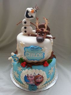Frozen Cake With Handmade Sven And Olaf Frozen cake with handmade Sven and Olaf