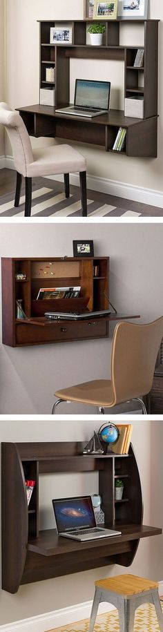 and Décor for the Modern Lifestyle Floating Wall Mount Desk //Floating Wall Mount Desk // Wall Mounted Desk, Wall Desk, Mounted Tv, Home Furniture, Furniture Design, Outdoor Furniture, Furniture For Small Spaces, Small Desk Space, Small Study Table