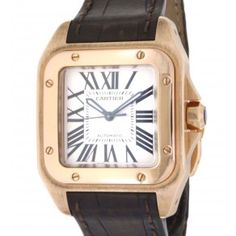 CARTIER SANTOS 100 W20108Y1 IN ROSE GOLD & BROWN LEATHER STRAP Cartier Santos 100, Brown Leather, Rose Gold, Steel, Watches, Accessories, Clocks, Clock, Tan Leather