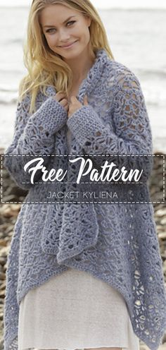 Jacket Kyliena – Pattern Free – Easy Crochet - New Site Gilet Crochet, Crochet Coat, Crochet Cardigan Pattern, Crochet Scarves, Crochet Shawl, Easy Crochet, Crochet Clothes, Free Crochet, Crochet Patterns