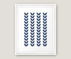 Scandinavian Print Leaf Wall Art Blue Navy by MoonlightPrint