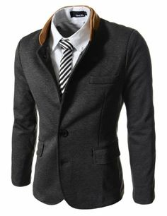 Nice collar. Weird collar. Looks better open/up than closed. $50- - AmazonSmile: TheLees Mens Double Collar 3 Button 2 Tone Blazer Jacket: Clothing