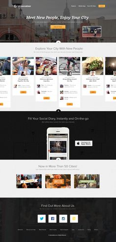 citysocializer web design. Awesome. Full width background and a nice content layout; great images.