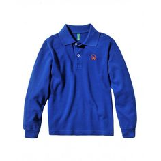 Polo manica lunga, finitura bordo maniche in costina, in cotone con logo ricamato in alto a sinistra. 3089C3302 BLUE