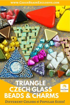 ?Triangle Czech Glass Beads and Charms  Different Colors & Popular Sizes! - Buy now with discount! www.CzechBeadsExclusive.com/+triangle  Hurry up - sold out very fast! SAVE them! #czechbeadsexclusive #czechbeads