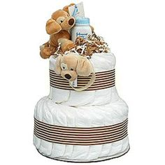 Tan Sparky 2 Tier Diaper Cake - http://www.247babygifts.net/tan-sparky-2-tier-diaper-cake-3/