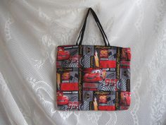 Disney Cars  McQueen  Book Bag  Tote Bag  Carry all  by HappyRagz   #craftshout