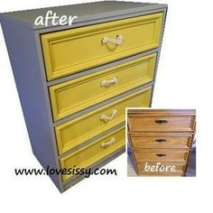 Repaint a wood or wood laminate dresser & use rope for handles. Multi color, grey body, yellow drawers, white rope pulls.