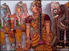 (1) It is believed that the leather puppets originated from the small village of Nimmmalakunta in Andhra Pradesh. The puppet show that uses leather puppets is know as Togalu Gobbeyata in Kannada, Chitra Marathigaru in Marathi, Tolu Bomlat in Telugu, and Pavaikottu in Malayalam.