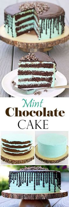 The cake is not only delicious, but stunning. Rich chocolate sponge cake and mint cream is so tasty together and moist, you can't stop at one piece. #chocolatemintcake #dessert #chocolatecake