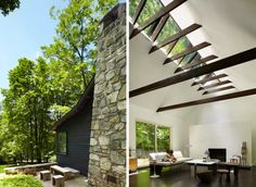 Love that big skylight xc {Garrison NY, Janson Goldstein, Takaaki & Christina Kawabata} Garrison Ny, Skylight, Open Plan, Home And Family, Stairs, Cabin, Building, Outdoor Decor, Room