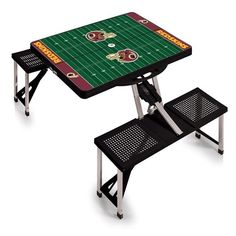 Picnic Time Team Football Field Design Portable Picnic Table (200 CAD) ❤ liked on Polyvore featuring home, outdoors, patio furniture, outdoor tables, outdoor picnic tables, patio picnic table, folding patio furniture, folding patio table and outdoor folding table