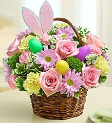 Cute Easter arrangement filled with spring colors! We added some bunny ears to get this arrangement in the Easter spirit. Great for a table or desk. Order Easter Time fresh from FANCY PETALS - Defiance, OH Florist & Flower Shop. Easter Plants, Easter Flowers, Gift Flowers, Spring Flowers, Basket Flower Arrangements, Floral Arrangements, Hoppy Easter, Easter Gift, Easter Decor