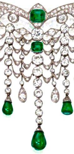 Emerald & Diamond Devant de Corsage, France, circa 1925--Sotheby's