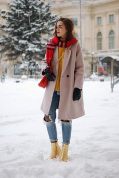 camel beige coat, yellow turtleneck cableknit sweater, zara distressed mom jeans, oversized boyfriend striped button down shirt, red check burberry scarf, fishnet tights and jeans, red chloe drew crossbody bag, mango leather gold metallic ankle boots, cute winter outfit ideas 2017, casual winter outfit 2016, winter look, how to dress when it snows, dressing for cold weather, winter layering, pinterest winter outfit, tumblr outfit, romanian fashion blogger, european fashion blog, andreea…