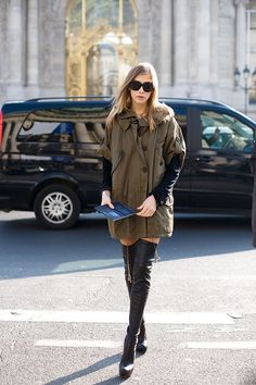 Khaki coat & thigh high boots #styletips
