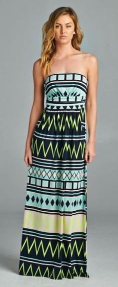 Chevron Print Maxi Dress - Navy/Green - Knitted Belle Boutique  - 1