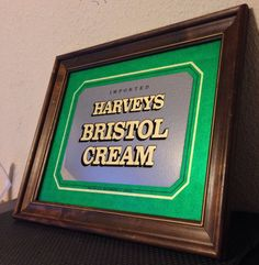 KATE MIDDLETOWN DRINKS THIS BRAND, SEE THE LINK  http://www.princess-diana-remembered.com/william--kate-news/duchess-of-cambridge-presents-shamrocks-to-irish-guards-at-st-patricks-day-parade  Imported Harveys Bristol Cream Vintage Mirror Wood Bar/Pub Sign 19x15 Rare GREEN #KateMiddleton #Queen #QueenOfEngland #Prince #PrinceCharles #QueenElizabeth #PrinceWilliam #PrinceHarry #Royal #RoyalFamily #DuchessOfCambridge #PrincessDiana #Princess #PrincessKate #Kate #Middleton #Middleton