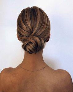 Low bun Updos For Medium Length Hair, Medium Hair Styles, Curly Hair Styles, Hair Medium, Veil Hairstyles, Wedding Hairstyles, Hairstyle Ideas, Bun Hairstyle, Hair Ideas