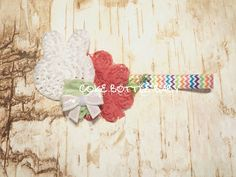 Cute bunny and flower shabby headband