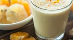 Turmeric adds color and flavor to this smoothie made with orange juice, lime juice, and coconut milk.
