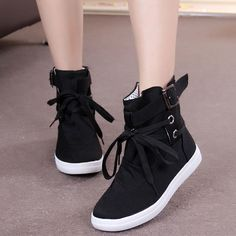 HEVXM 2017 New Spring And Autumn Boots Women New Women Shoes Ankle Boot Brand Flats Canvas Shoes Lace-Up Fashion Casual Boots Women Shoes Sneakers casual Sneakers Mode, Shoes Sneakers, Shoes Heels, Sneakers Style, Sneakers Design, Sneakers Adidas, Flat Shoes, White Sneakers, High Heels