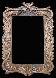 Rectangular Black Forest Hand Carved Mirror Frame (Inquire for Price)