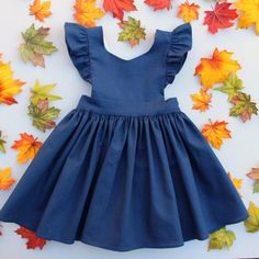 Cora Pinafore Dress in Navy Linen  for baby toddler little girl long elbow sleeve cotton handmade button back warm cozy fall winter thanksgiving vintage inspired boutique