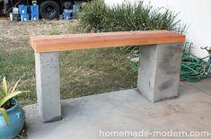 Neue DIY Idee. Eine unverwüstliche Bank aus Holz und Beton. #DIY #Garten