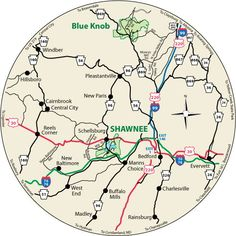 This circular map shows the roads leading to Shawnee State Park, Pennsylvania.