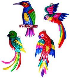"""- * 4"""" Tropical Bird Ornaments * - Tin - Mexico -"""