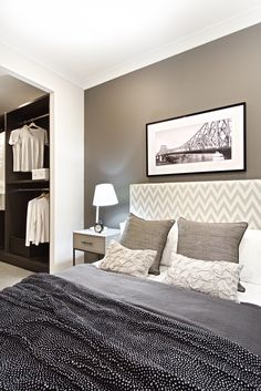 Clarendon Homes.  Manhattan 26.  Bedroom 4 with walk-in-robe and feature wall.