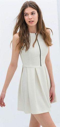 White zipper dress