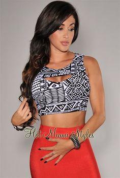 91618e032b9b Black White Aztec Print Cropped Top