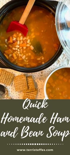 A quick take on a classic, using convenience foods to get this hearty soup on the table fast!  #heartysoups #hamandbeansoup #quicksoups