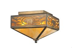 12 Inch Sq Lone Grizzly Bear Flushmount - 12 Inch Sq Lone Grizzly Bear flush mount Theme: RUSTIC LODGE ART GLASS ANIMALS Product Family: Lone Grizzly Bear Product Type: CEILING FIXTURE Product Application: SEMI FLUSH Color: ANTIQUE COPPER/HA BEIGE Bulb Type: MED Bulb Quantity: 2 Bulb Wattage: 100 Product Dimensions: 10.5H x 17WPackage Dimensions: NABoxed Weight: ??20 lbsDim Weight: 48 lbsOversized Shipping Reference: NAIMPORTANT NOTE: Every Meyda Tiffany item is a unique handcrafted work of…